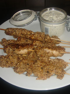 Spicy dukkah chicken skewers