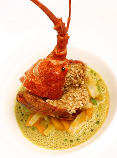 crayfish topped by country fashioned vegetables