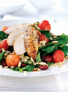 Baby spinach, chicken and pine nut barley salad