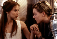 Clare Danes and Leonardo DiCaprio in a scene from Rome and Juliet