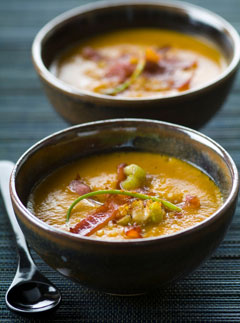 Marie Claire Recipes: Roast sweet potato soup with paprika and bacon
