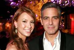 George Clooney and Sarah Larson at the Oscars 2008