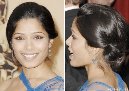 Freida Pinto, Oscars hair trends, celebrity photos, Marie Claire