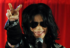 Michael Jackson at a press conference in London