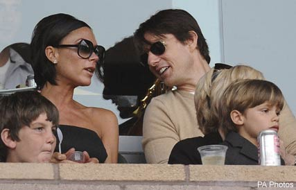 Kate Beckinsale, Tom Cruise and Victoria Beckham watch David Beckham play football with LA Galaxy