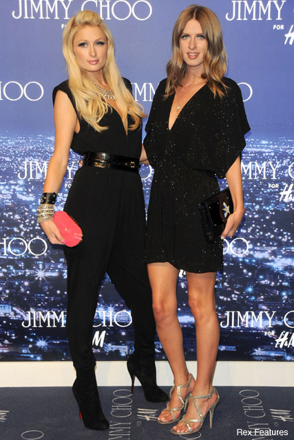 Paris Hilton and Nicky Hilton - Jimmy Choo for H&M - Celebrity News - Maire Claire