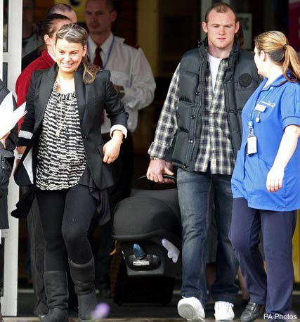 Coleen and Wayne Rooney leave hospital after the birth of their babay boy, Kai, Celebrity News, Celebrity Photos