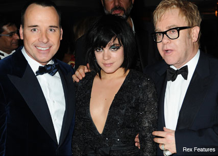 David Furnish, Lily Allen and Elton John - Celebrity News - Marie Claire