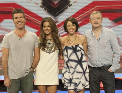 Simon Cowell, Cheryl Cole, Dannii Minogue and Louis Walsh - Celebrity News - Marie Claire