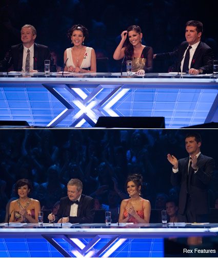 Louis Walsh, Dannii Minogue, Cheryl Cole and Simon Cowell Crop - Celebrity News - Marie Claire