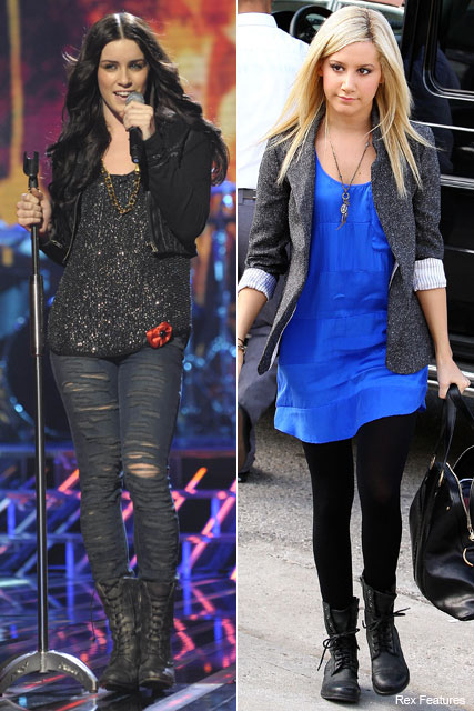 Lucie Jones and Ashley Tisdale - Trend: Celebrities in All Saints Military Boots - Marie Claire