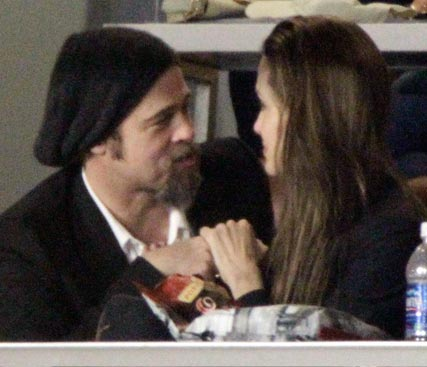 Brad Pitt and Angelina Jolie at the 2010 Superbowl