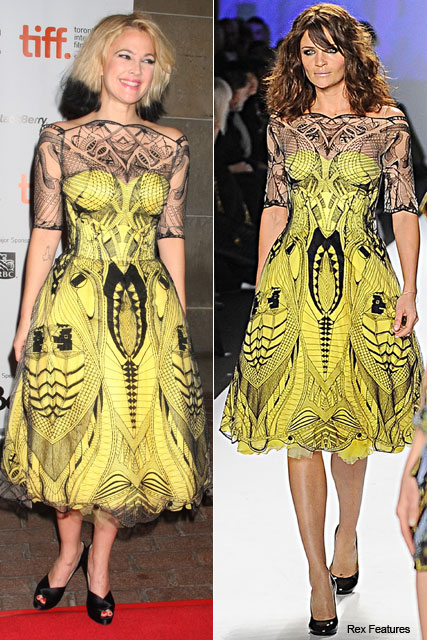Drew Barrymore and Helena Christensen in Alexander McQueen - Who wore it best? - Marie Claire