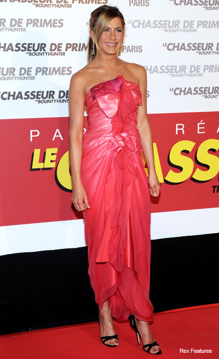Jennifer Aniston in Christian Lacroix - pink dress, Bounty Hunter premiere, Paris - Marie Claire