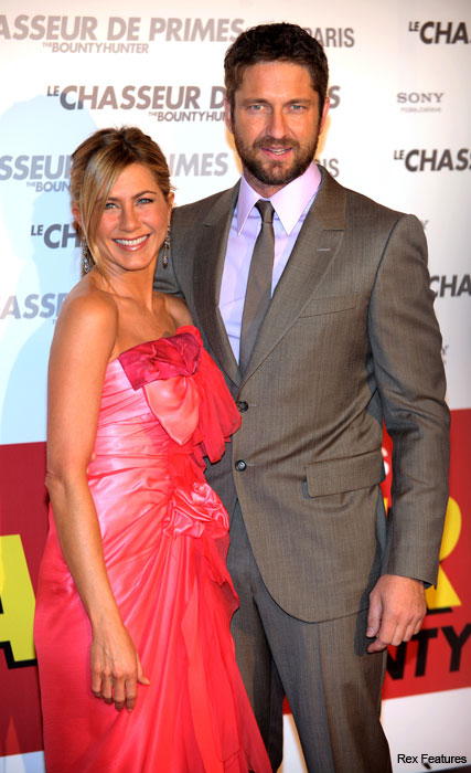 Jennifer Aniston and Gerard Butler - pink dress, Bounty Hunter premiere, Paris - Marie Claire