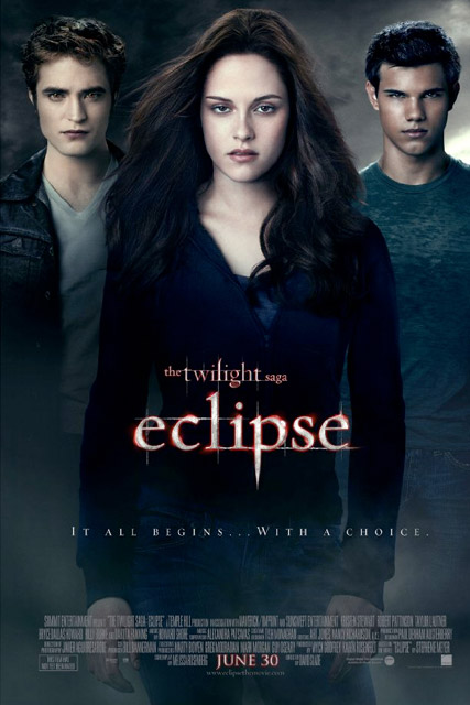 Twilight eclipse poster, Robert pattinson, Kristen Stewart and Taylor Lautner