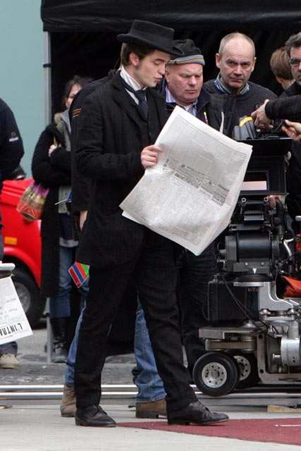 Robert Pattinson on the set of his new movie Bel Ami