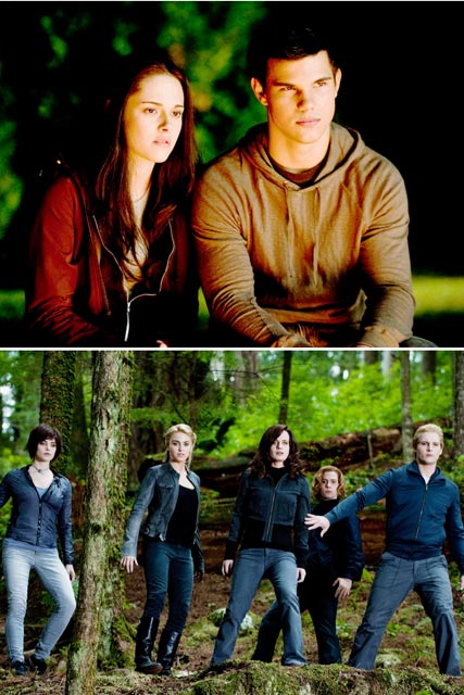 New Twilight Eclipse pics - Kristen Stewart and Taylor Lautner, and the Cullen family