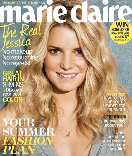 Jessica Simpson on the cover of US Marie Claire without make-up