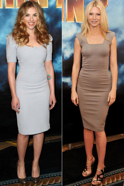 Scarlett Johansson and Gwyneth Paltrow at a photocall for Iron Man 2