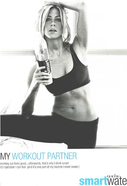 Jennifer Aniston shows off her toned body in Smart Water ads