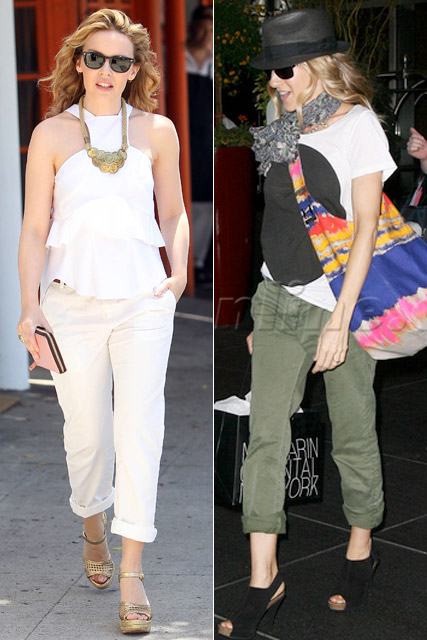 Kylie Minogue and Sarah Jessica Parker - Current Elliot Captain Trousers - Fashion News - Marie Claire