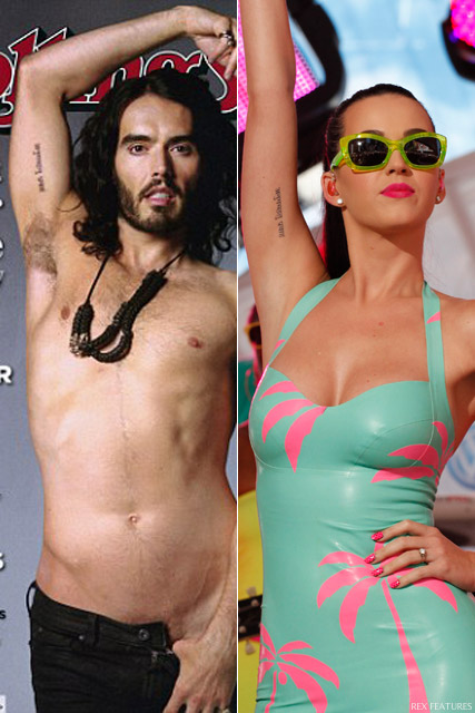 Katy Perry and Russell Brand - Katy Perry and Russell Brand reveal matching tattoos - Katy Perry - Russell Brand - California Gurls - Celebrity News - Marie Claire