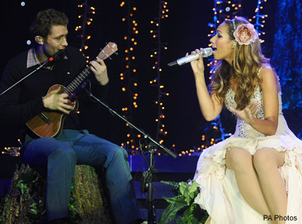 Matthew Morrison star of Glee joins Leona Lewis on stage at the O2 arena in London