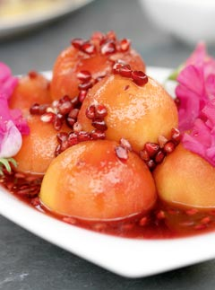 Poached Peaches with Pomegranate syrup