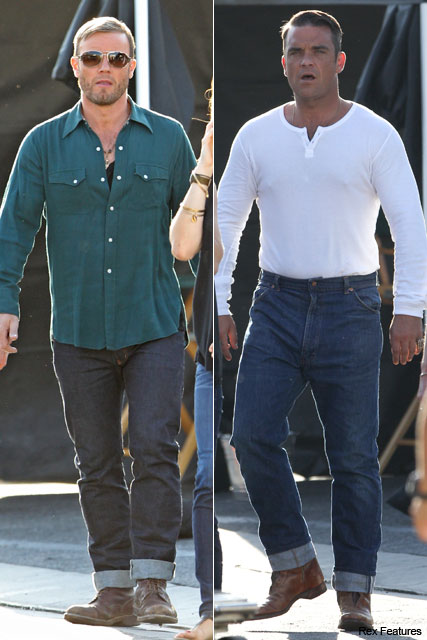 FIRST LOOK! Robbie Williams and Gary Barlow on set of new video - celebrity, news, Take That, see, pictures, pics, Marie Claire