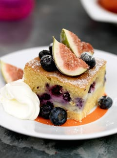 Summer fig and blueberry custard cake