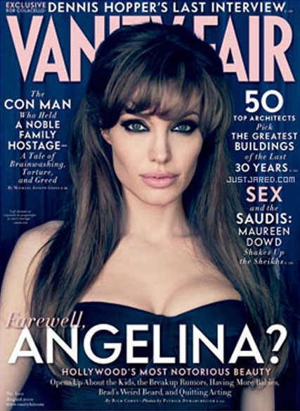 Angelina Jolie talks babies, Brad and quitting the business - Vanity Fair, cover, interview, Brad Pitt, see, pics, picture, Marie Claire