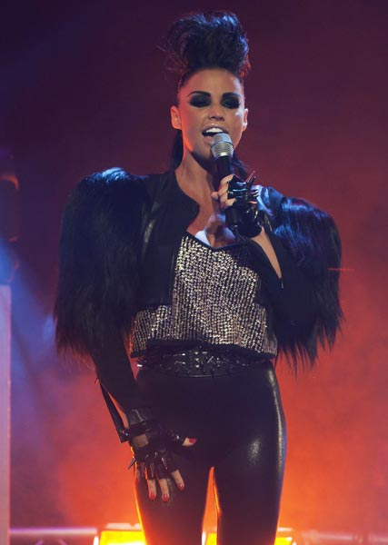Katie Price performing her new single, Free to Love Again, on GMTV
