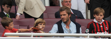 PICS! The Beckham Boys' day out at the football - Emirates, stadium, David Beckham, Brooklyn, Cruz, Romeo, pictures, Marie Claire, celebrity, news