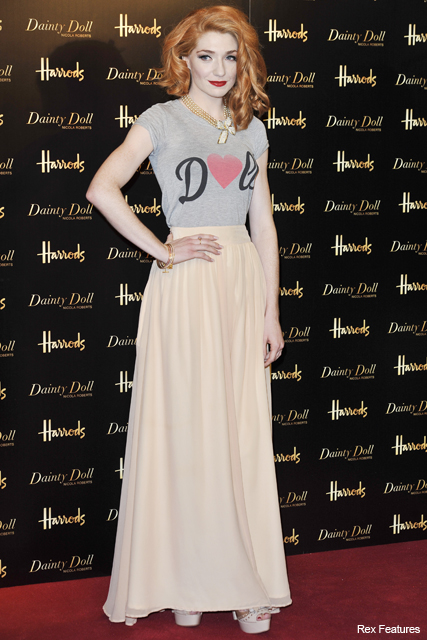 PICS! Nicola Roberts launches new Dainty Doll make-up range at Harrods - Girls Aloud, cosmetics, collection, pale, fair, skin, buy, online, exclusive, store, maxi, skirt, see, pics, pictures, celebrity, beauty, news, Marie Claire