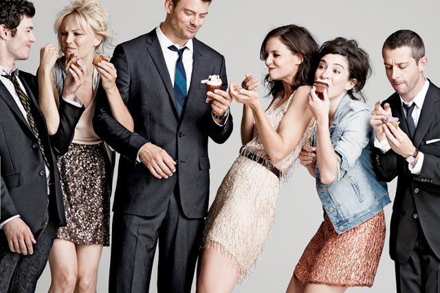 Katie Holmes and the cast of The Romantics in J. Crew ads