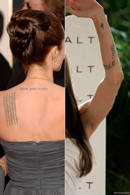 Angelina Jolie Tattoos - Angelina Jolie talks tattoos - Angelina Jolie tattoo - Angelina jolie new tattoo - Celebrity News - Marie Claire