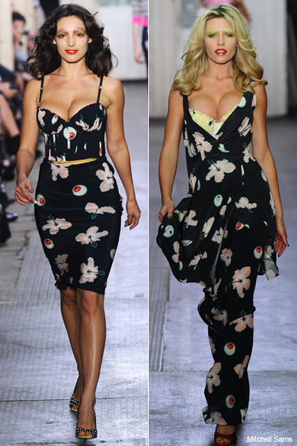 Kelly Brook & Abbey Clancy flaunt curves on Giles catwalk - London Fashion Week, pregnant, size zero, model, modelling, runway, spring/summer 2011, show, collection, see, pics, pictures, fashion, news, Giles Deacon, Marie Claire