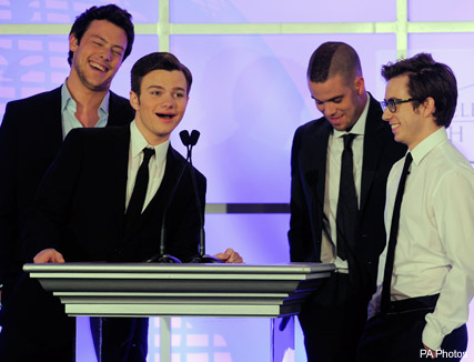 Chris Colfer, Kevin McHale, Cory Monteith and Mark Salling - Glee wins big at Tv Critics Awards - Glee - Teen Choice Awards - Celebrity - Marie Claire