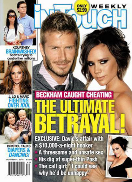 David and Victoria Beckham - David Beckham denies ?ridiculous? affair allegations - David Beckham affair - David Beckham Prostitute - Victoria Beckham - In Touch - Celebrity Affairs - Celebrity News - Marie Claire