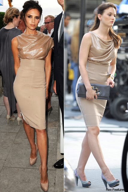 Who wore it best? Victoria Beckham vs. Leighton Meester - stars, celebrities, matching, same, outfit, dress, style, snap, Victoria Beckham collection, Gossip Girl, season four, set, filming, see, pics, pictures, celebrity, style, fashion, Marie Claire