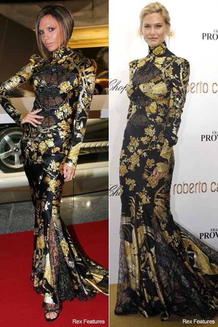 Who wore it best? Victoria Beckham vs. Bar Rafaeli - Roberto Cavalli, Autumn/Winter 2006, dress, 40th Anniversary party, Paris Fashion Week, BAMBI Awards, Germany, see, pics, pictures, style, snap, same,wearing, dress, matching, Marie Claire