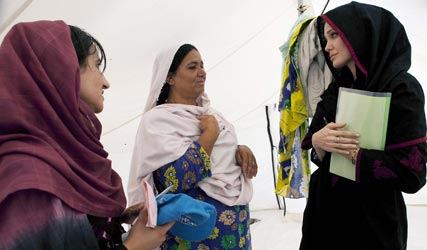 Angelina Jolie in Pakistan with the UNHCR