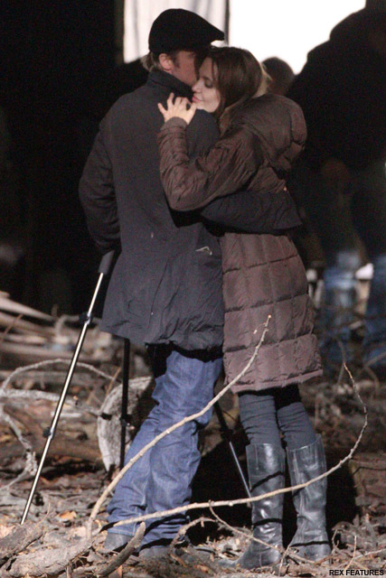 Brad Pitt Angelina Jolie- PICS! Brad and Angelina snuggle up on set - Celebrity News - Marie Claire