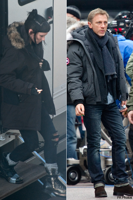 Rooney Mara and Daniel Craig - The Girl with the Dragon Tattoo - on set, filming, location, Sweden, Stockholm, see, first, look, actor, actress, Millenium, Stieg Larsson, Lisbeth Salandar, Mikael Blomkvist, news, Marie Claire