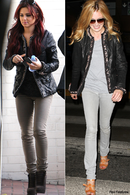 Cheryl Cole and Cat Deeley - Who wore it best?, style, snap, stars, celebrities, same, matching, outfits, Mulberry, leather, jacket, see, pics, pictures, X Factor, Marie Claire