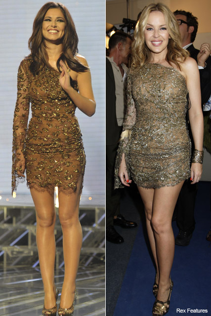 Cheryl Cole vs. Kylie Minogue - Who wore it best?, Style, snap, stars, wearing, same, matching, dress, outfit, Emilio Pucci, minidress, Marie Claire
