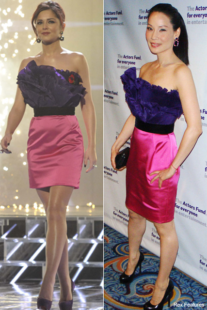 Who wore it best? Cheryl Cole vs. Lucy Liu - Ina Soltani, dress, stars, wearing, same, matching, outfit, style, snap, X Factor, Marie Claire