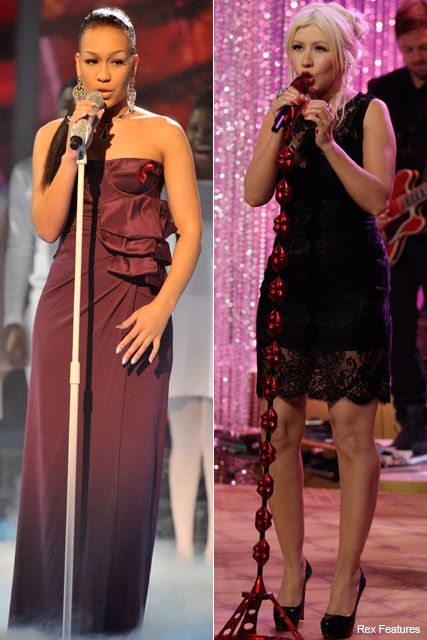 Rebecca Ferguson and Christina Aguilera - X Factor final duets, Marie Claire
