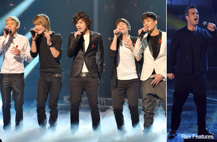 One Direction and Robbie Williams - X Factor final duets, Marie Claire